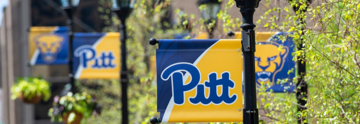 Four University of Pittsburgh banners hanging on light poles among trees in front of the Cathedral of Learning